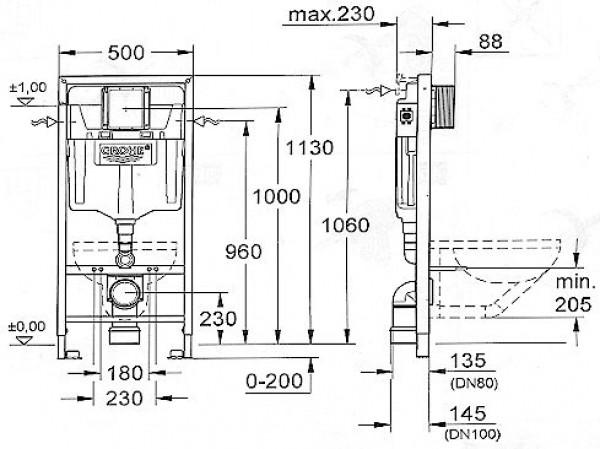 grohe wc anlage set ii sanitaershop hgm. Black Bedroom Furniture Sets. Home Design Ideas